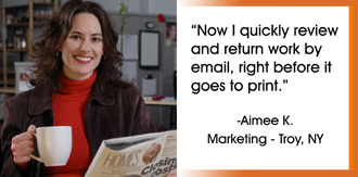 Aimee uses PcFreeMail at her office to quickly scan and send email by handwritten names.